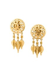 Chanel Vintage Fringe Clip On Earrings Metallic