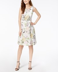 Nine West Floral Print A Line Dress Purple Multi