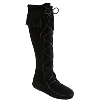 Minnetonka Lace Up Boot Black Suede