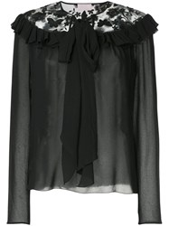 Giamba Butterfly Neck Tie Blouse Black
