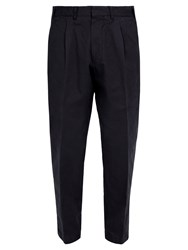 The Gigi Pleated Front Tapered Leg Cotton Trousers Navy