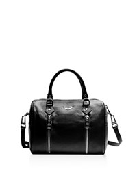Zadig And Voltaire Sunny Small Leather Satchel Black Silver