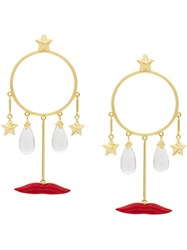 Eshvi Circle Drop Earrings Gold