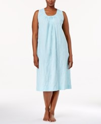 Charter Club Plus Size Lace Trimmed Embroidered Nightgown Only At Macy's Soft Rain