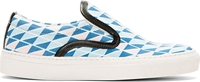 Mother Of Pearl Blue Geometric Leather Trim Slip On Sneakers
