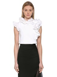 Lanvin Ruffled Cotton Poplin And Lace Top
