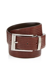 Canali Reversible Braided Leather Belt Brown
