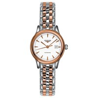 Longines L43743927 Women's Flagship Automatic Date Two Tone Bracelet Strap Watch Silver Rose Gold
