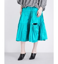 Marques Almeida Deconstructed Silk Skirt Turquoise