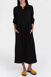 Raquel Allegra Button Front Gauze Dress Black