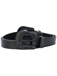 B Low The Belt Double Buckle Women Leather L Black