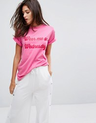 Daisy Street T Shirt With Wednesdays Print Pink