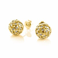 Sonal Bhaskaran Svar Gold Sphere Earrings Clear Cz Gold Yellow Orange