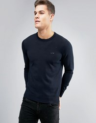 Armani Jeans Crew Knit Jumper Logo Regular Fit In Navy Blu