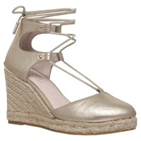 Carvela Kute Woven Wedge Espadrille Sandals Dusty Gold