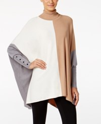 Alfani Colorblocked Turtleneck Poncho Only At Macy's Colorblock Camel
