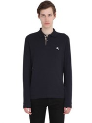 Burberry Logo Embroidered Cotton Pique Polo