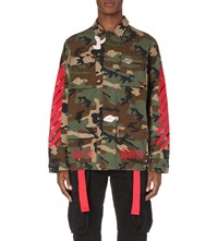 Off White C O Virgil Abloh Embroidered Camo Field Jacket Military Red