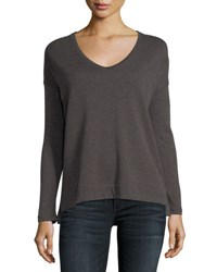 Majestic Cotton Cashmere Long Sleeve V Neck Pullover Top Beige