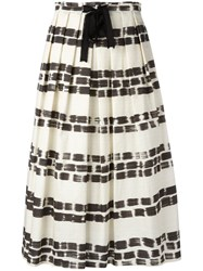 Max Mara Brushstroke Print Pleated Skirt Women Cotton 42 Nude Neutrals