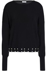 Claudie Pierlot Studded Stretch Knit Top Midnight Blue