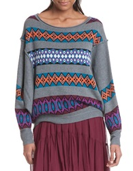 Plenty By Tracy Reese Slouchy Pullover Sweater Fairisle
