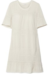 James Perse Ruched Voile Mini Dress Ivory
