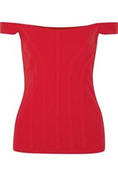 Ellery Yandex Off The Shoulder Stretch Cady Bustier Top Red