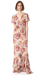 One By Auguste Beach House Frill Wrap Maxi Dress Longbeach Floral Natural