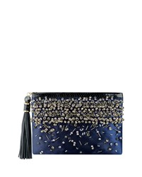 Celia Large Beaded Satin Clutch Bag Indigo Rafe