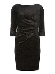 Dorothy Perkins Billie And Blossom Petite Black Velour Shift Dress