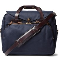 Filson Leather Trimmed Twill Briefcase Blue