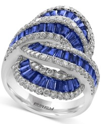 Effy Royale Bleu Sapphire 2 1 2 Ct. T.W. And Diamond 1 1 4 Ct. T.W. Statement Ring In 14K White Gold