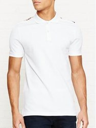 Aquascutum London Hill Club Check Detail Pique Polo Shirt White