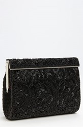 Nina Beaded Frame Clutch Black Black Bead