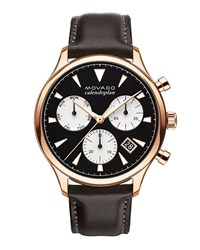Movado Calendoplan Chronograph Watch With Leather Strap Black