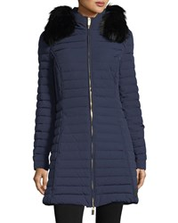 Hunter Quilted Fitted Zip Front Midi Coat W Faux Fur Dark Star