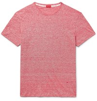 Isaia Space Dyed Linen And Cotton Blend T Shirt Red