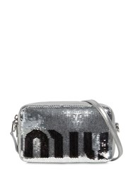 Miu Miu Sequined Logo Camera Bag Silver Black