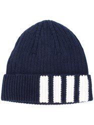 Thom Browne Ribbed Stripe Panel Beanie Men Cashmere One Size Blue