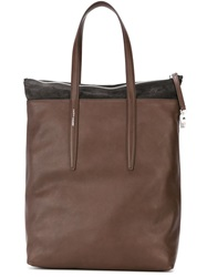 Agnona Panelled Shopper Tote Brown