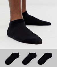 Selected Homme 3 Pack Trainer Socks In Black