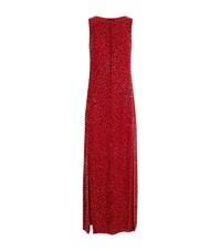 Emporio Armani Boat Neck Embellished Gown Red