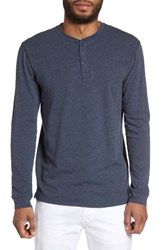 Slate And Stone Men's Slim Long Sleeve Henley Heather Navy