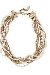 Lanvin Gold Plated Faux Pearl Necklace One Size