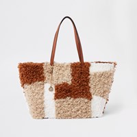 River Island Beige Borg Patch Textured Tote Bag