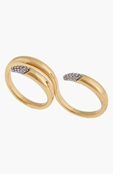 Rachel Zoe 'Sophia' Pave Two Finger Ring Clear Gold