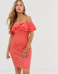 Paper Dolls Ruffle Bardot Lace Pencil Dress In Soft Coral Orange