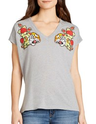 Jessica Simpson Graphic Print Heathered Tee Heather Grey