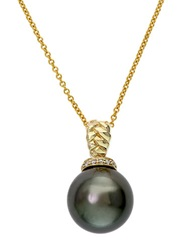 Effy 14K Yellow Gold Black Tahitian Pearl And Diamond Pendant Necklace Black Pearl Gold